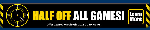 All Games are half off!