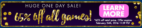 Huge One Day Sale – 65% Off All Games!