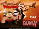 in-game screenshot : Mustache Warrior (og) - Shoot down the hordes of evil bats!