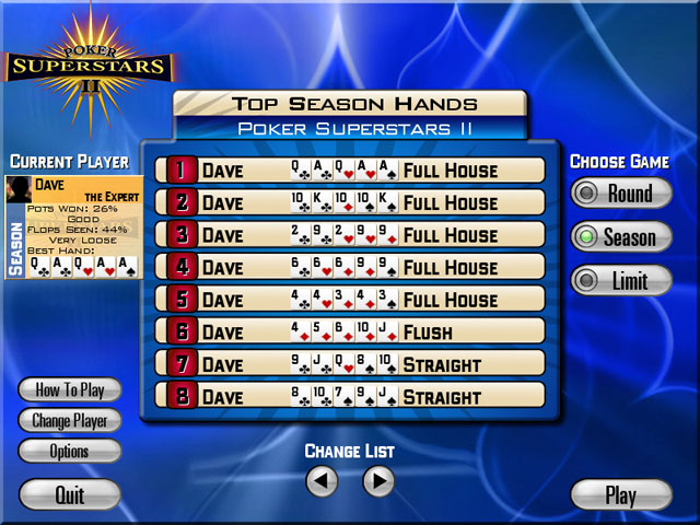 Poker superstars online game