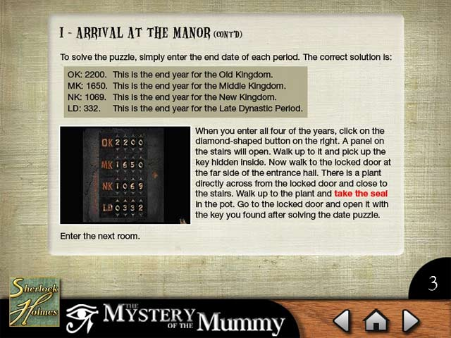 Sherlock Holmes: The Mystery of the Mummy Strategy Guide Screen Shot 1